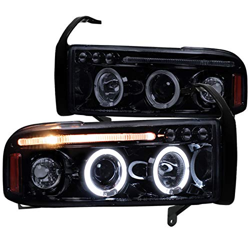 Spec-D Tuning 2LHP-RAM94G-TM Black Projector Headlight (Halo Led Gloss Housing With Smoked Lens)