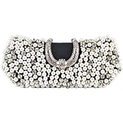MG Collection Dazzling Pearl Beads Rhinestone Encrusted Clutch Evening Handbag