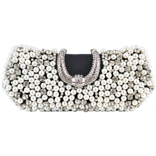 MG Collection Black Pearl Beads Rhinestone Encrusted Clutch Evening Purse
