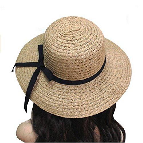 PIXNOR Women's Wide Brim Summer Beach Hat Foldable Roll Up Sun Visor Straw Hat Cap (Light Brown) Craft Supplies Straw Hats