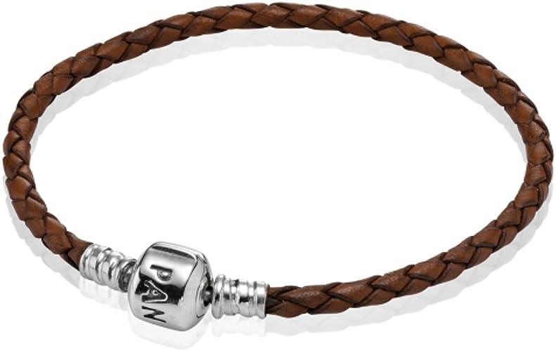 Pandora Bracelet en cuir Marron 1 19 cm - 590705CBN-S2: Amazon.fr ...