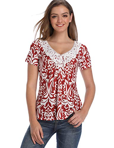 Women's Paisley Printed Tops Long Sleeve Henley Lace V Neck Pleated Casual Ruched Front Flare Blouse Floral Print Shirts