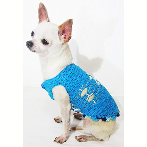 Turquoise Blue Crocheted Pet Shirts Cotton 19F - Crocheted Xxs