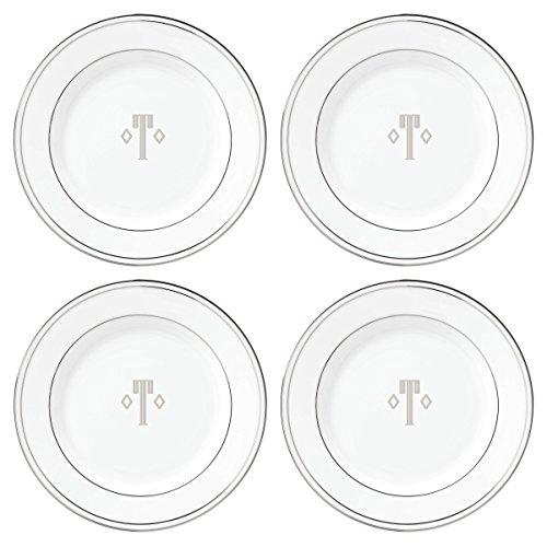 Lenox Federal Platinum Block Monogram Dinnerware Tidbit Plates, Set of 4, ()