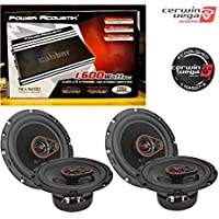Power Acoustik RE4-1600D Caliber 1600W 4-Channel Class A/B Car Audio Amplifier W/ CERWIN VEGA H7653 Cerwin Vega HED 6.5 3-way coaxial speaker set - 340W MAX