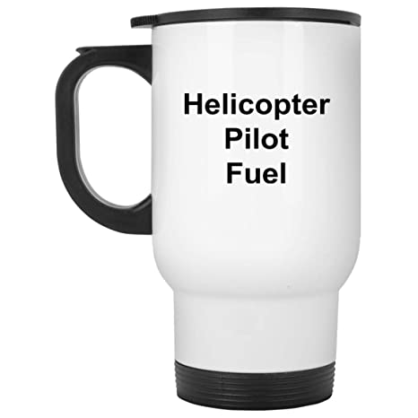 Helicopter Pilot Travel Mug - 14 oz White Stainless Steel - Funny Novelty Gift Idea