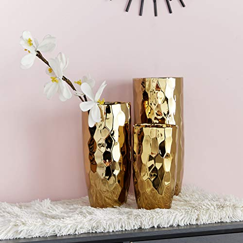 CosmoLiving by Cosmopolitan 42384 Large Ceramic Electroplated Metallic Gold Vase with Geometric Silhouette, 4