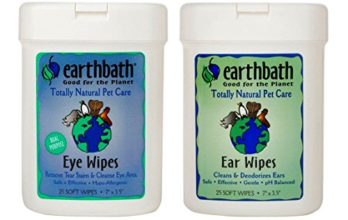Earthbath Dog Cat Grooming Bundle - (1) Each: Ear Wipes and Eye Wipes, 25 count