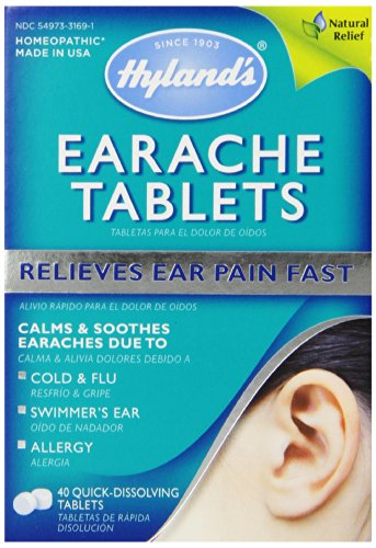 Hyland's Earache Tablets, Natural Relief of Cold & Flu Earaches, Swimmers Ear, and Allergies, 40 - Earache Reliever Pain