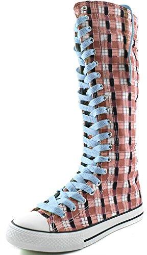 Stivale Alto Al Ginocchio Donna Alto Classico Stivale Alto In Tela Pizzo Alto Stile Punk Scarpette Piatte Stivali Scozzese Rosa Wht, Pizzo Celeste