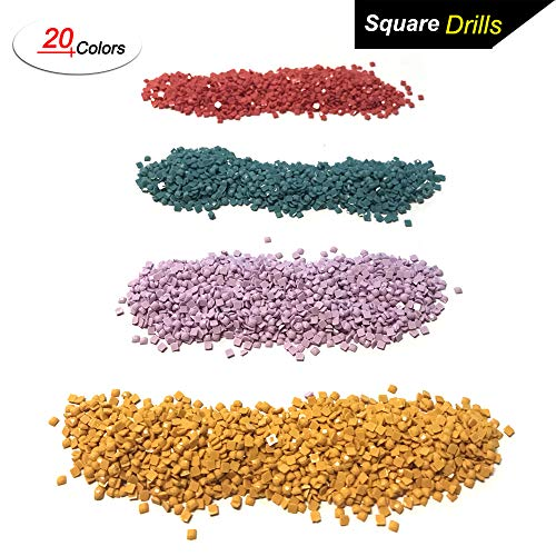 Diamond Painting Accessories Square Diamonds, 20 Colors DIY Bead for Missing Drills of 5D Diamond Painting Kits Cross Stitch Rhinestone Embroidery