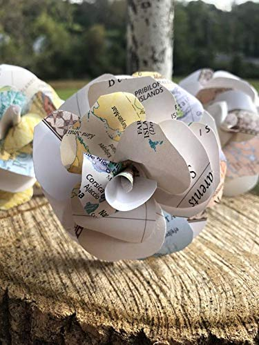 World Map Paper Flowers for Wedding and Home Decor ()