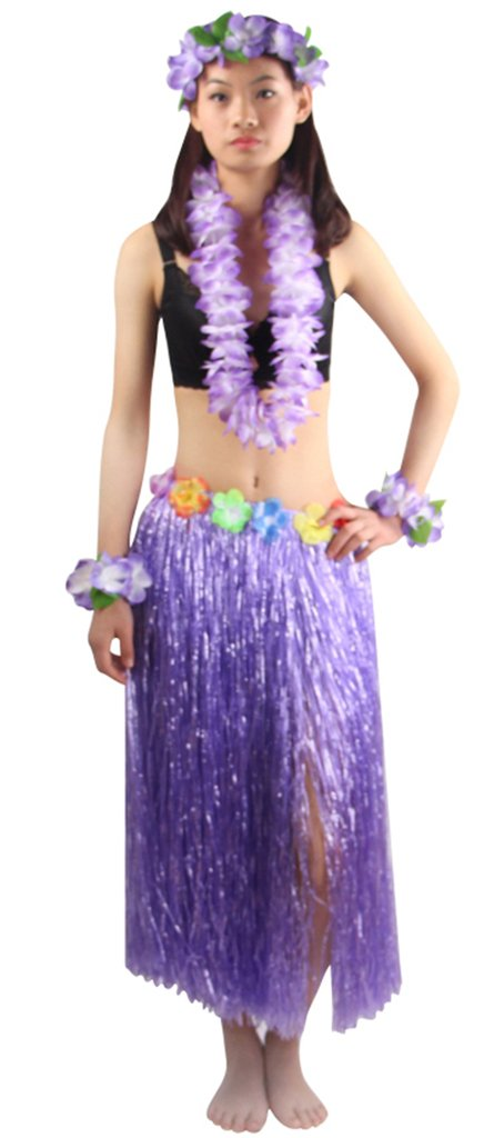 5pcs/Set Women's Hawaiian Luau 80cm purple Grass Hula Skirt