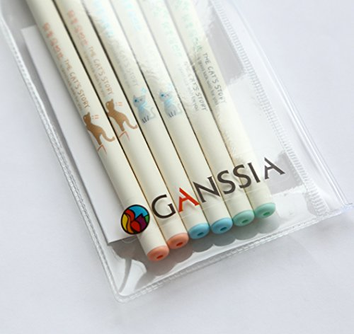 GANSSIA Colorful Cats Design 0.38mm Gel Pens Black Ink Pack of 6 Pcs by GANSSIA (Image #7)