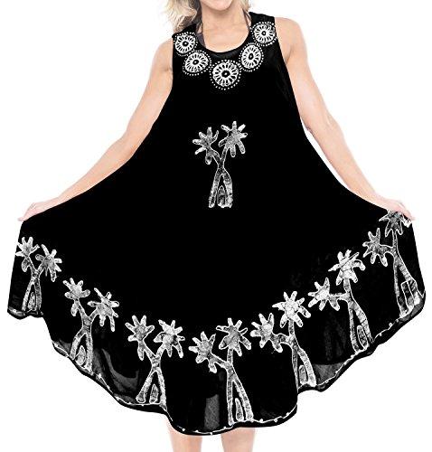 LA LEELA Womens Beach Boho Flowy Party Tunic T-Shirt Dress US 4-14W Black_T694 (Best T Shirt Brands In India)