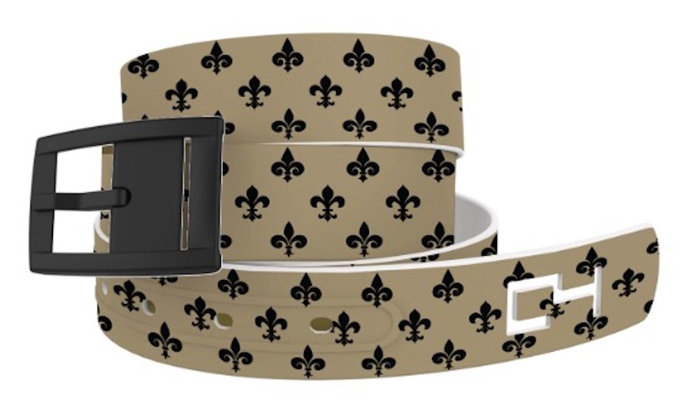 C4 Belts Fleur De Lis Classic Belt with Black Buckle - Fashion Belt - Waist Belt for Women and Men