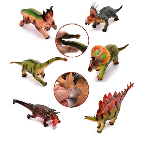(WonderPlay 7-12 Inch Soft Dinosaur Figures Toys Set - Jungle Animal Action Figures Educational Jurassic Dinosaur Toys Party Favors Game for Boys Girls Kids Toddlers )