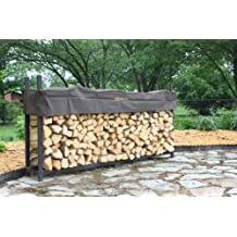 Woodhaven 8' Brown Firewood Rack and Seasoning Cover