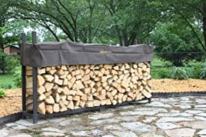The Woodhaven Brown 10 Foot Firewood Log Rack with Cover