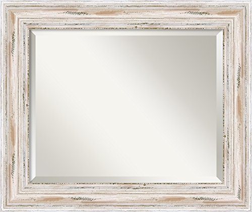Amanti Art Framed Solid Wood Wall Mirrors |, Glass Size 16x20, Alexandria White Wash |