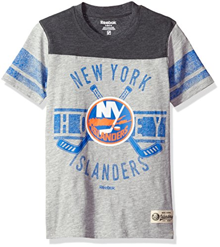 NHL Brand NHL Youth Boys 8-20 Islanders Lineage Short Sleeve Slub Tee, Xl(18), Heather Grey