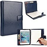 Cooper FOLDERTAB Padfolio Case Compatible with iPad Mini 4 | Business Executive Organizer with Notepad | Vegan Leather, Left Right Handed Binder, Notebook Refill, Pockets | Apple A1538 A1550 (Blue)