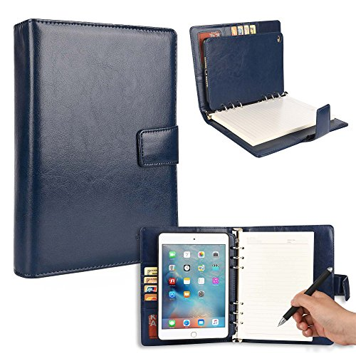 Cooper FOLDERTAB Padfolio Case Compatible with iPad Mini 4   Business Executive Organizer with Notepad   Vegan Leather, Left Right Handed Binder, Notebook Refill, Pockets   Apple A1538 A1550 (Blue)