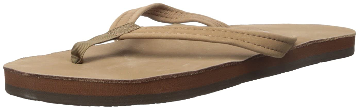 Dark Brown Rainbow Sandals Premier Leather Single Layer Narrow