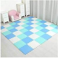 EVA Foam Play Puzzle Mat for kids Interlocking Exercise Tiles Floor Carpet Rug Each 29X29cm18 24/ 30pcs playmat,white blue green,24 pieces