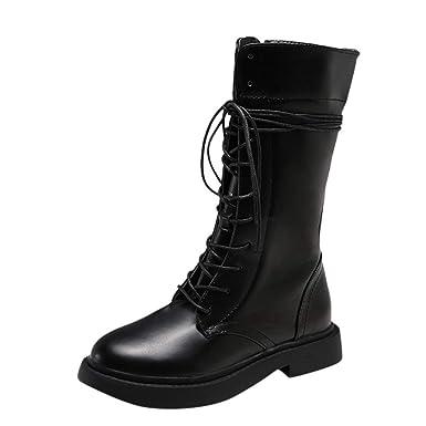 Darringls_Zapatos de Invierno Mujer,Zapatillas Altas de Tubo Tacon Cuadrado Botas con Cordones Moda: Amazon.es: Ropa y accesorios