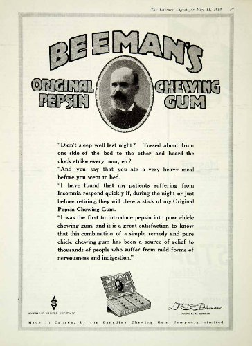 1918-ad-american-chicle-company-beemans-pepsin-chewing-gum-man-mustache-beard-original-print-ad