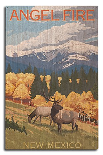 (Lantern Press Angel Fire, New Mexico - Elk and Mountains (10x15 Wood Wall Sign, Wall Decor Ready to Hang))