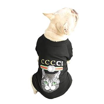 Scrox 1x Ropa para Mascotas Moda Gato Imprimiendo Bulldog francés Perros Ropa Cachorros Ocio Chaleco Camiseta Perros Accesorios (Negro L): Amazon.es: Hogar