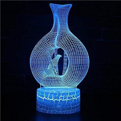 Lámpara de ilusión 3D con forma de jaula de pájaros Lámpara de decoración de tres patrones y 7 colores - Regalos perfectos para niños