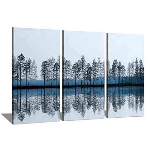 Abstract Nature Artworks Reflections Picture: Growing Trees Birch on Lake in Twilight on Wrapped Canvas, 3 Piece Wall Art Set