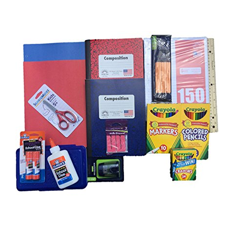 Back to School Supplies Bundle Includes Crayola Markers/Colored Pencils/Crayons, Elmers Glue/Glue Stick, Composition Books, Note Book Paper, Pencils, Pencil Box and more.