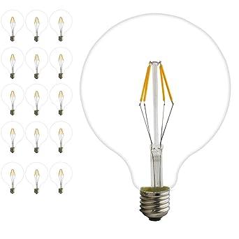 15 piezas Filamento LED E27 Cristal Globo de 4 W G125 E27 blanca cálida 2200 K