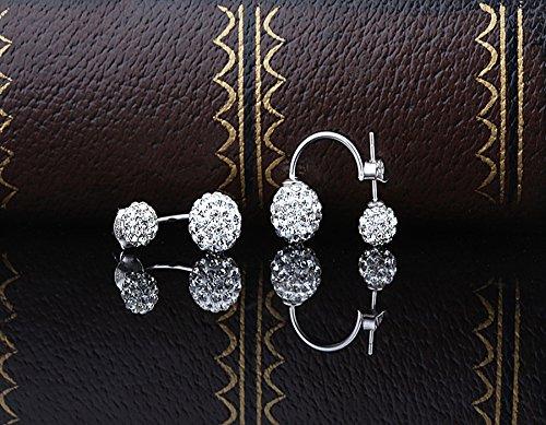 Infinite U 925 Sterling Silver Double Ball Earrings Jacket Front Back 2 in 1 Stud Earrings B