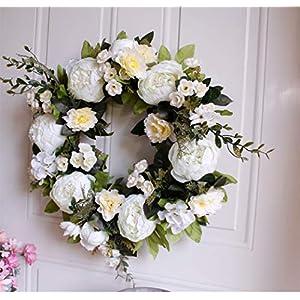 "16"" Peony Hydrangea Wreath,Artificial Peony Flower Wreath Door Wreath with Green Leaves Spring Wreath for Front Door,Wedding,Wall, Home Decor 2"