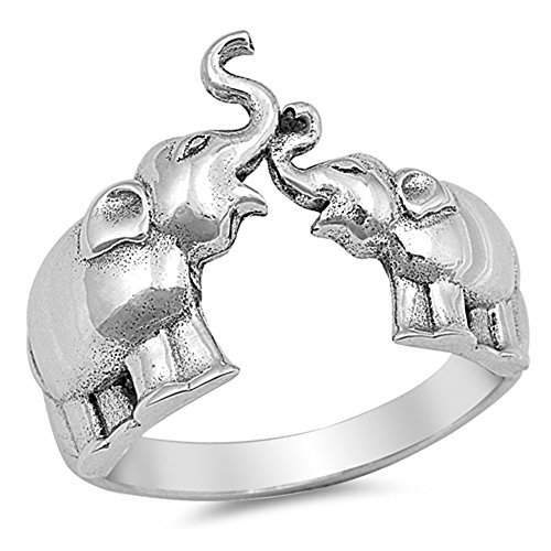 Elephant Animal Ring New .925 Sterling Silver Band Size 10