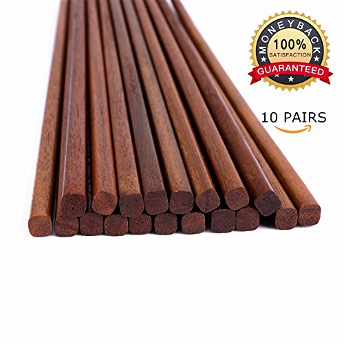 Reusable Chinese Wooden Chopsticks,Pack of 10, Natural Health,Smooth Surface, Premium Material, 9.8-inch Long,Brown Chinese Wood Chopsticks