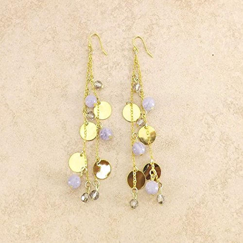 Blue Aquamarine Swarovski Gold Disc Statement Earrings Aquamarine Crystal Chandelier