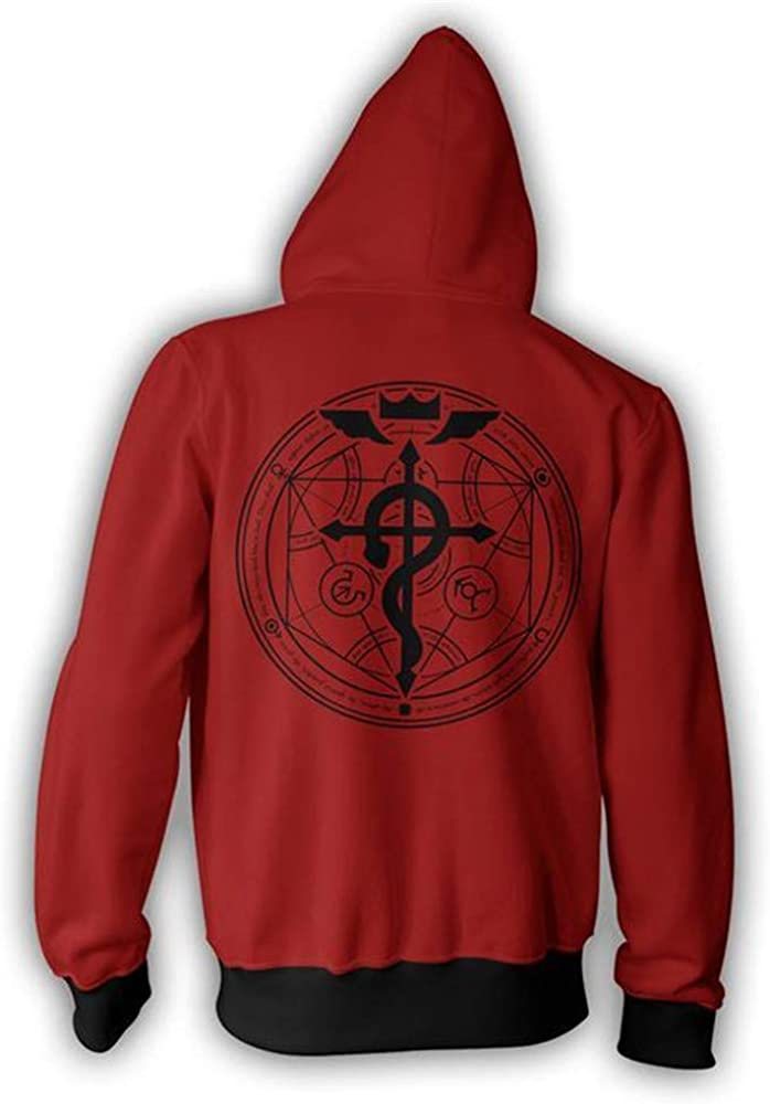 VOSTE Edward Elric Costume Anime Cosplay Hoodie 3D Printed Zipper Jacket