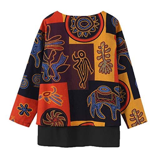 Landfox Dress, Temperament Loose Blouse Pullover Hooded,Women's Print Irregular Hem Tops Shirt -