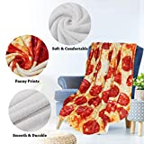 Pizza Throw Blanket Adult Size,Round Pepperoni