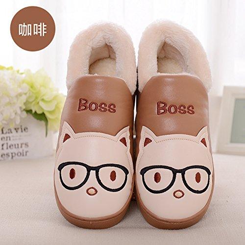 Cotone fankou pantofole inverno ladies paio di spessore home home carino scarpe antiscivolo pantofole caldi maschio, 300 [46-47 per 45-46], pelle color caffè