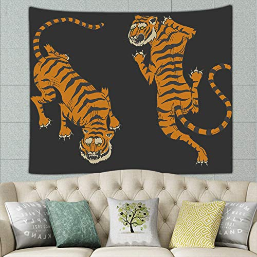 asian tigers vintage japanese style animals wildlife african signs symbols Tapestry Wall Tapestry Bohemian Wall Hanging Tapestries Wall Blanket Wall Art Wall Decor Beach Tapestry Tapestry Wall Decor 5
