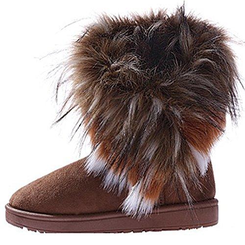 Damen Winter Schneestiefel Winterstiefel Stiefeletten Schlupfstiefel Boots Warm Pelz Stiefel Kamel