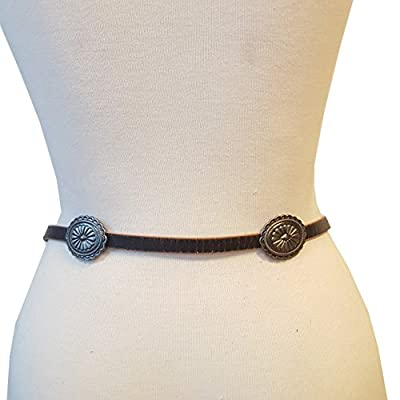 Western Skinny Leather belt with Conchos