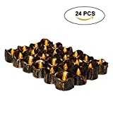 Aolvo Brown Battery Operated Candles, Retro Looking with Flameless LED Light for Various Occasion Like Wedding or Appointment Decorative Electronic Candle Against Wind Main Using for Women Pack of 24